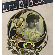 Art Nouveau Lalique Style Jewelry Collage Antique French Postcard