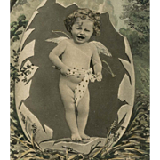 Crying Angel Cupid inside Broken Easter Egg Antique French Postcard