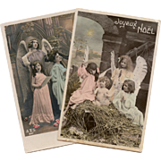 Christmas Nativity Scene and Angelic Music 2 Antique French Postcards