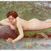 French Nude Picking Water Lilies by Jules Scalbert