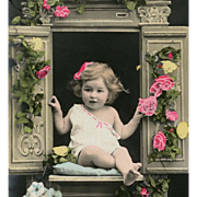 1908 French Edwardian Hand-painted Postcard of Toddler in a Cupboard