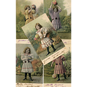 Series of 12 Antique Chromolithographic European Postcards Girl Playing with Ball and Toys