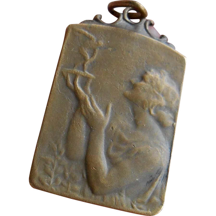 Vintage 1955 Belgian French Medal Art Nouveau Style Pendant Lady Holding Trophy
