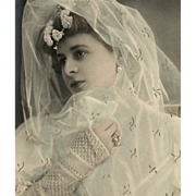 Belle Epoque Actress Dressed as Bride Reutlinger Real Photo Hand-Detailed Postcard