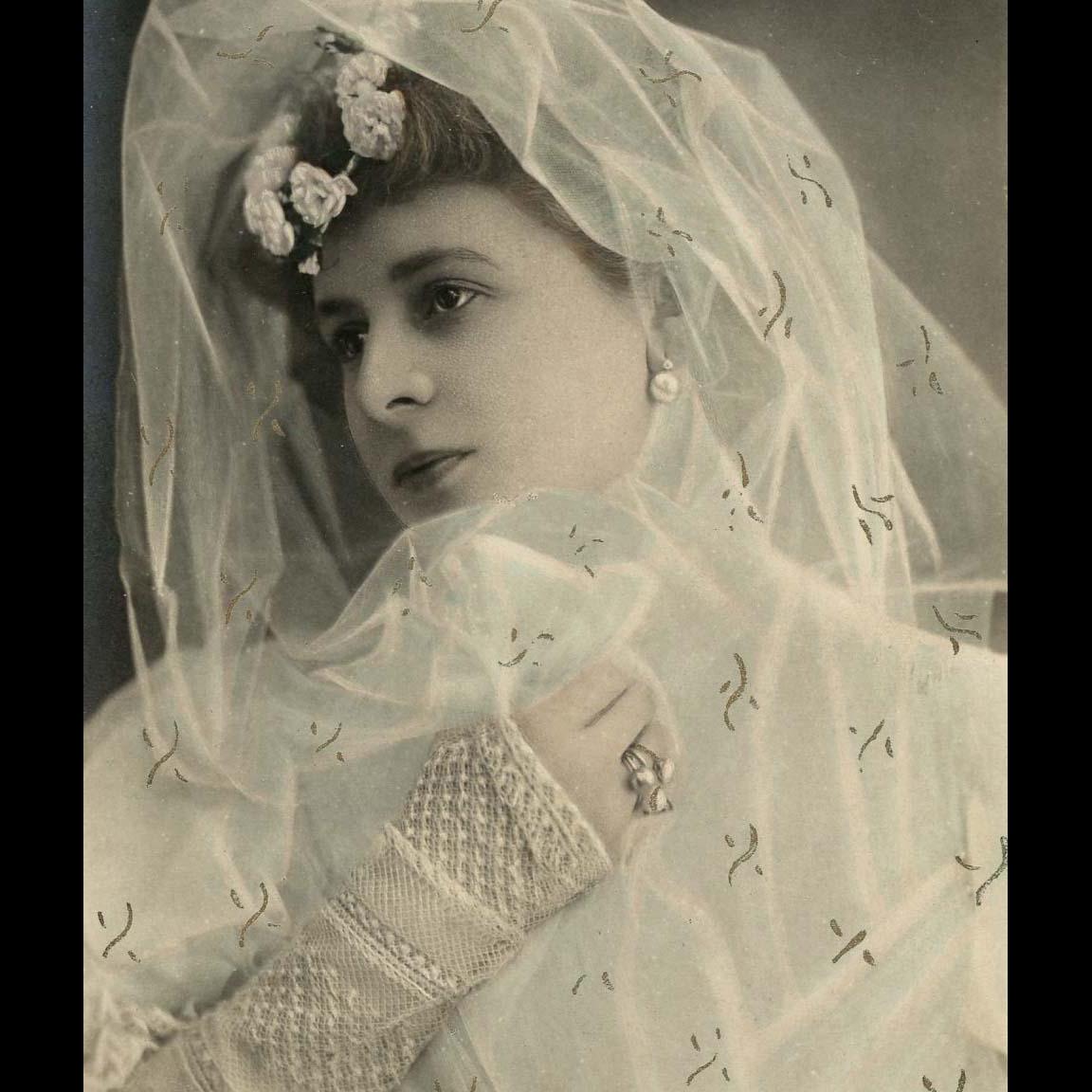 Belle Epoque Actress Dressed as Bride Reutlinger Real Photo Hand-Detailed Postcard