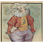 Hand-painted Clown French Carte Postale Circa 1904