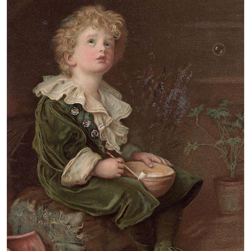 Bubbles Boy in Green Pear Antique Advertising English Postcard