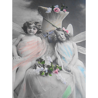 Color Tinted Dragonfly Fairies European Real Photo Fantasy Postcard from 1911