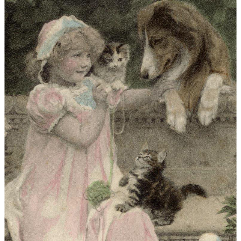 Blonde Girl with Collie and Kittens Unused French German Postcard of A.J. Elsley