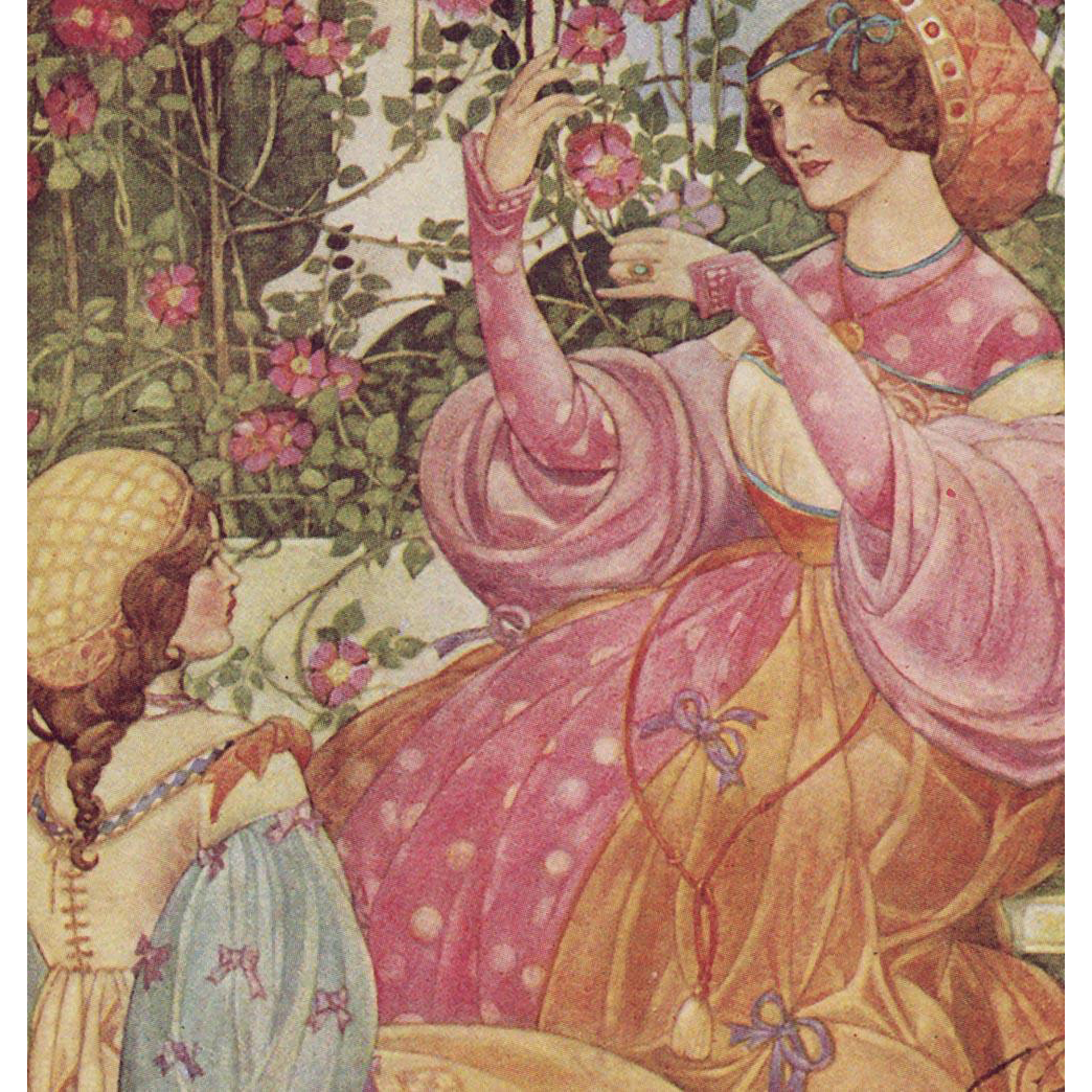 "Ethel Larcombe's ""Wild Roses"" Rare Antique British Chromolithographic Postcard Unused"