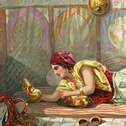 Moroccan Arab in the Harem Antique European Illustrated Orientalist Art Postcard Paris 1913