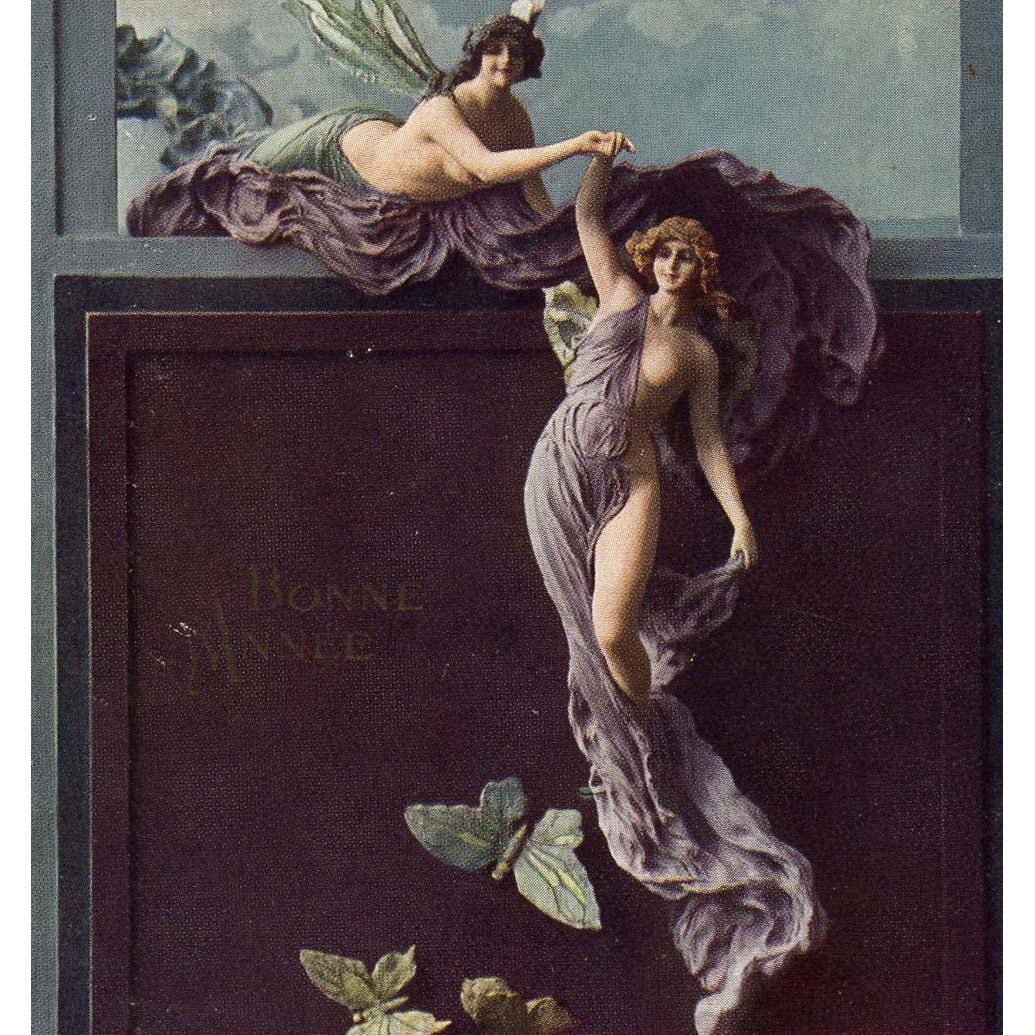 Rare Mastroianni Sculptochromie Butterflies and Fairy Art Nouveau Fantasy Postcard