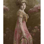 French Happy New Year Postcard from 1912 Edwardian Lady in Pink
