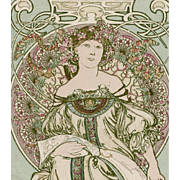 "Original Alphonse Mucha ""Daydreaming"" Postcard by Champenois Franked 1902"