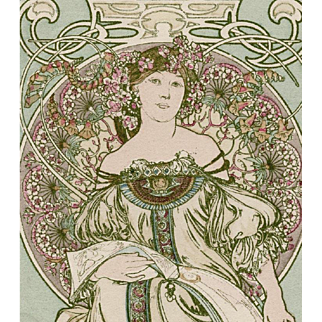 """Original Alphonse Mucha """"Daydreaming"""" Postcard by Champenois Franked 1902"""