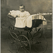 Real Photo French Postcard of Baby in Edwardian Buggy with Huge Wheels