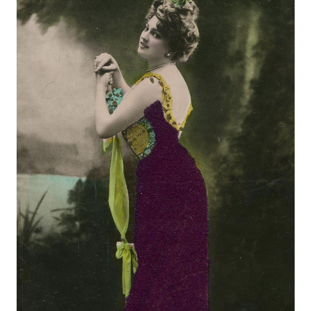 Belle Epoque French actress Arlette Dorgere Postcard 1906 Fabric Overlay
