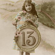 Edwardian Girl with Lucky 13 Medallion French Postcard