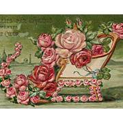 Sleigh of Roses Unused Embossed Antique French Postcard