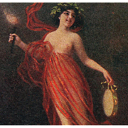 Italian Art Postcard of Semi-Nude Woman in Red with Tambourine and Torch