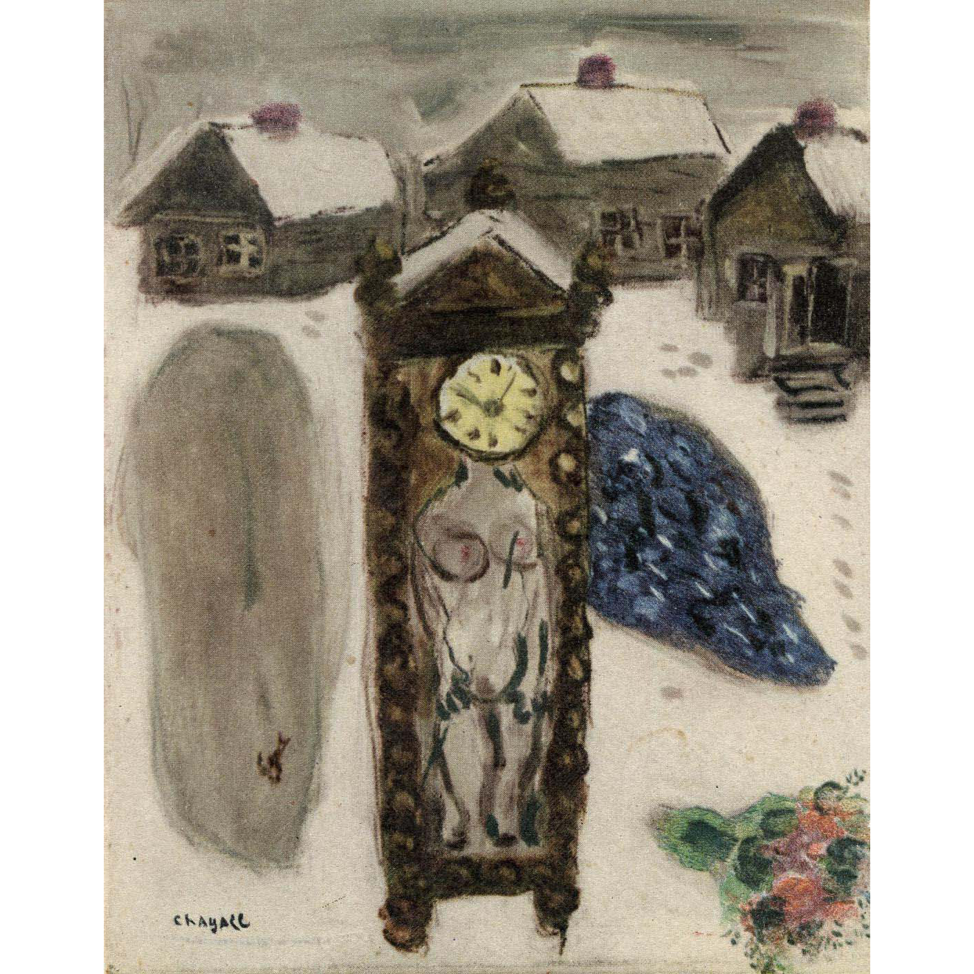 Marc Chagall Vintage French Postcard L'HIVER Unused