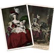 2 French Postcards of Marie Antoinette with her Children Lebrun-Vigée Portraits