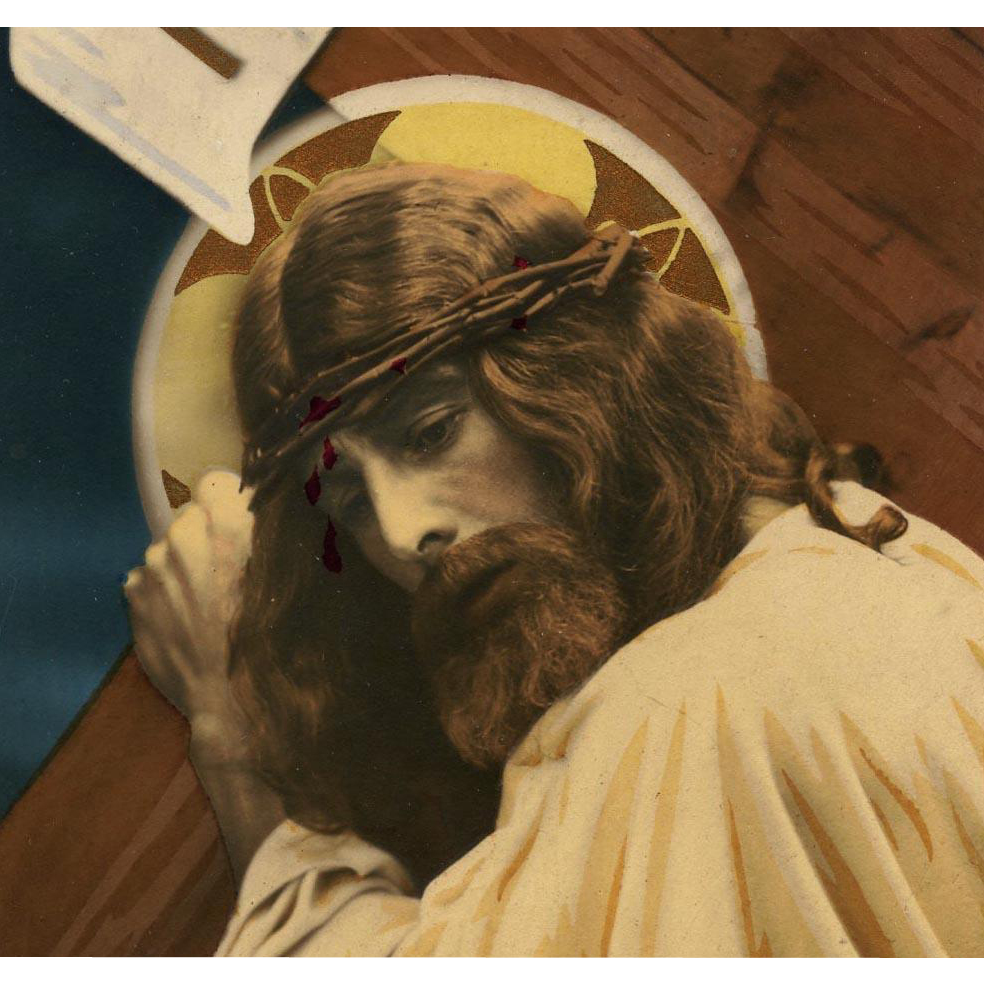 Jesus Christ Hand Painted Gold Details Vintage French Religious Postcard
