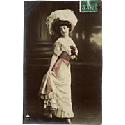 1910 Franked Edwardian Fashion Glamour Lady Real Photo French Postcard