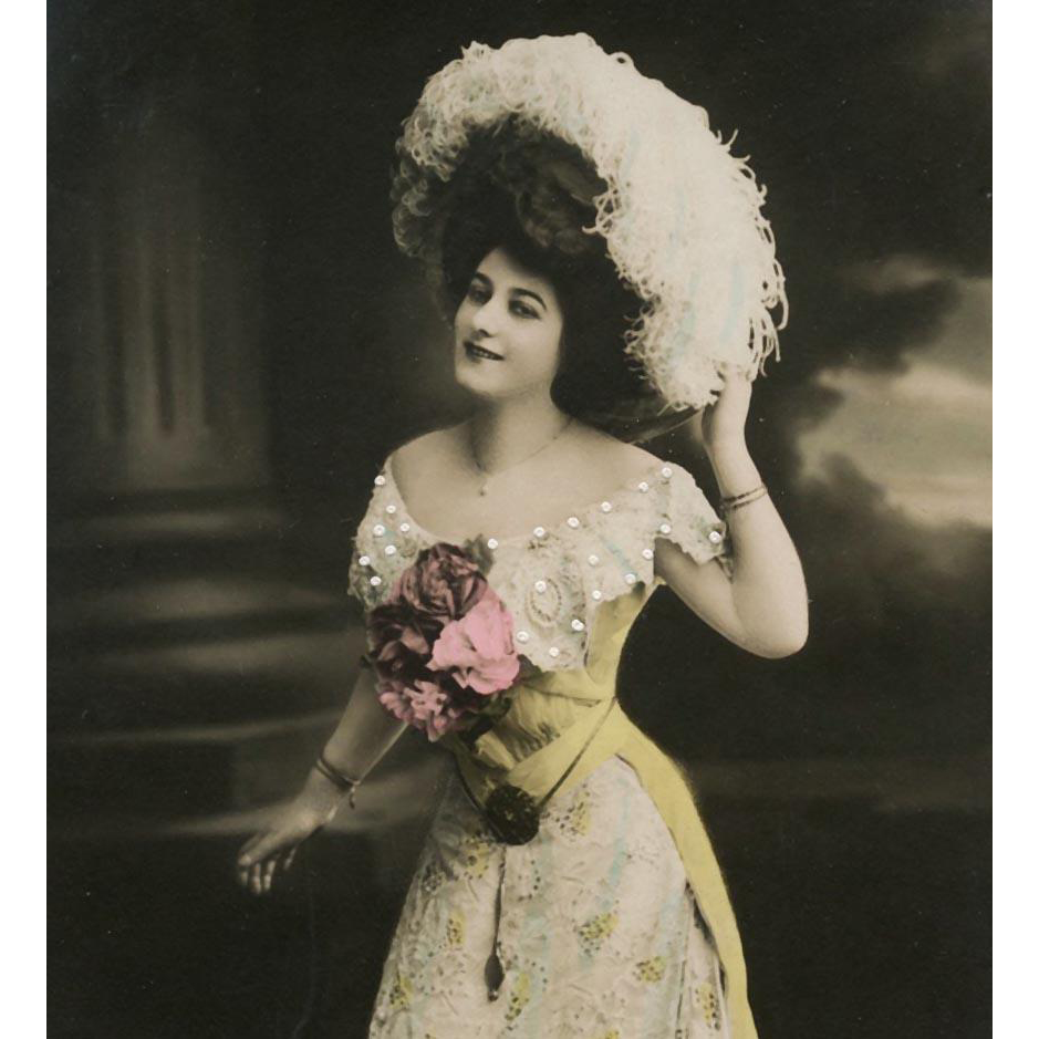 Hand-Detailed Real Photo Edwardian Fashion Glamour Lady in Yellow French Postcard