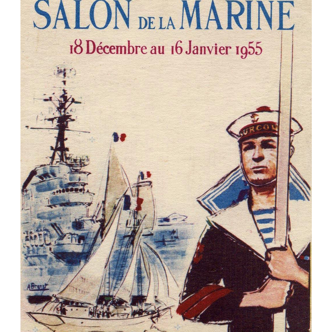 Retro 1955 Paris Maritime Museum Advertising Postcard with Sailor and Ships
