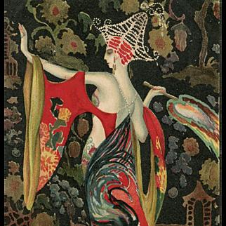 Exotic Art Deco Asian Fashion by Italian Artist Montedoro Unused Postcard