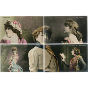 Sarah Bernhardt 10 Piece Puzzle Series Real Photo Postcards Hand Painted Unused Circa 1906