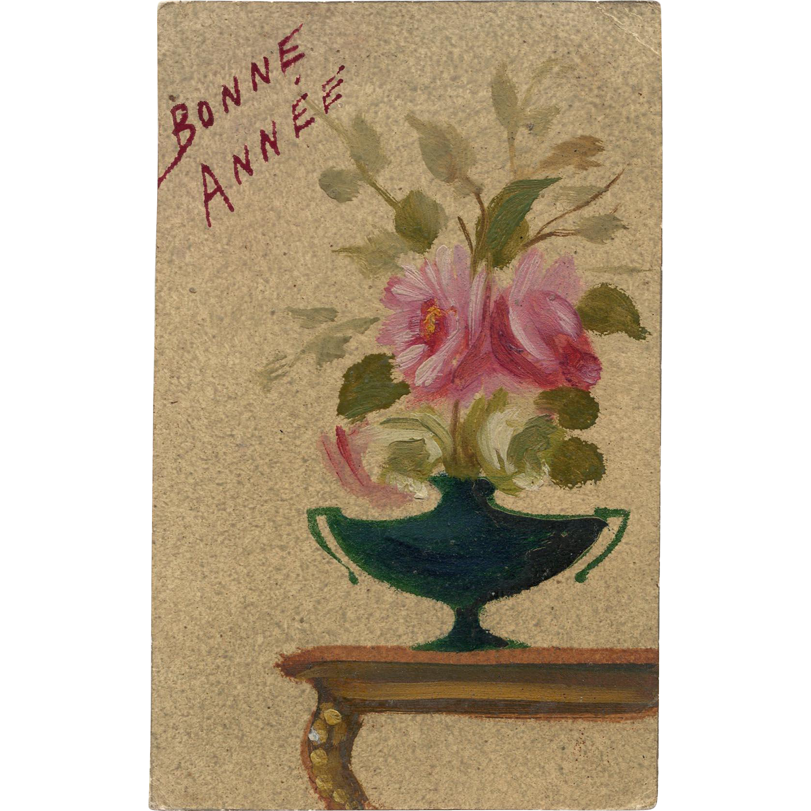 Hand-Painted Roses Antique French New Year Postcard