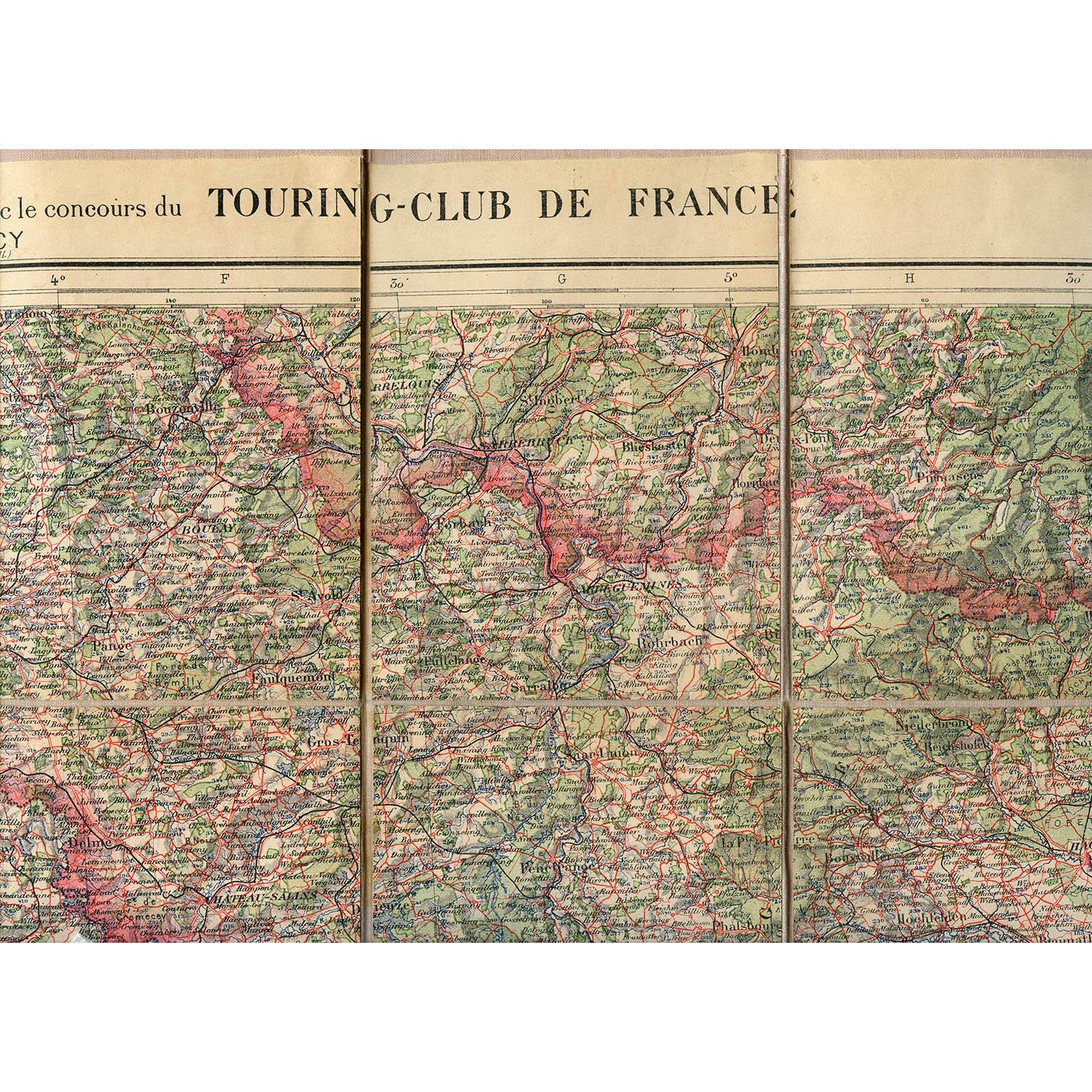 Vintage Canvas Backed Touring Club of France Map of Nancy Region