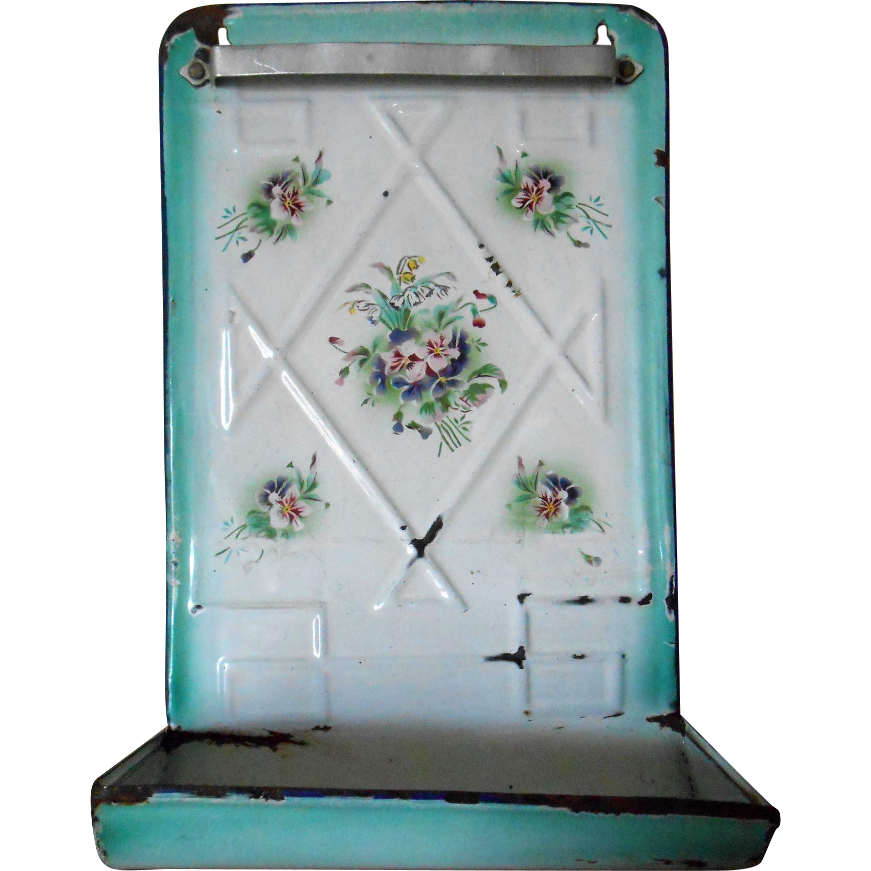 Vintage Enamelware French Utensil Rack with Pansies Turquoise Design