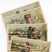 Zezette and Toto at the Beach Handpainted Series 6 French Postcards