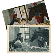 2 Antique European Artist Postcards: Max Kurzweil Horse Visiting Sick Soldier