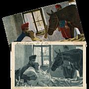 2 Antique European Artist Postcards: Max Kurzweil Horse Visiting Sick Soldier
