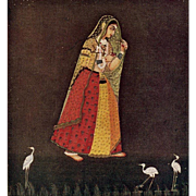 Hindu Art from British Museum: Girl Walking in a Starry Night Unused Postcard