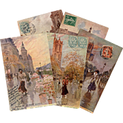 5 Antique French Postcards of Paris Artist Signed Georges Stein
