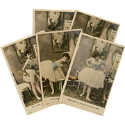 Pre-1904 Unused French Ballet Real Photo Series Handpainted 5 Postcards