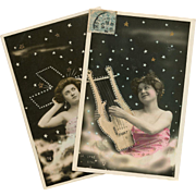 2 Constellation Real Photo Collage Postcards: Southern Cross and Lyra