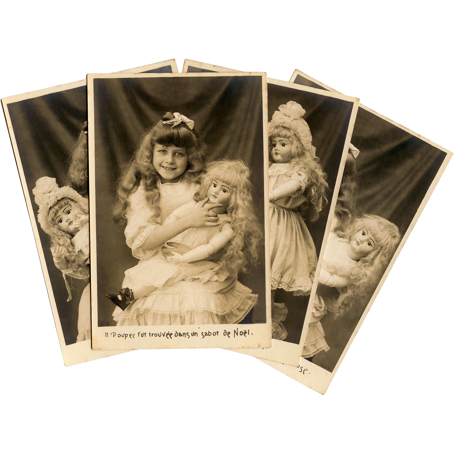 Complete Unused Series of 10 Antique French Postcards Edwardian Girl and her Poupée Bisque Doll