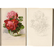 Catharina Klein Fleurs de France Postcard Album Designed for Art Students with Sketches to Paint