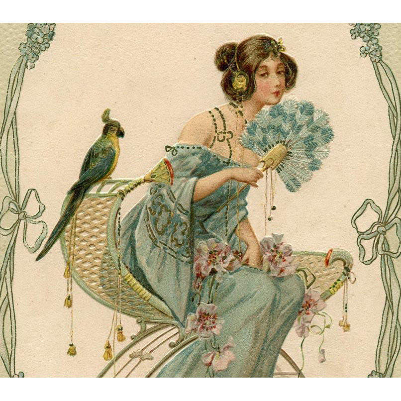Embossed Art Nouveau Postcard of Lady with Fan and Parrot