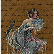 Art Nouveau Postcard of Lady with Fan and Parrot Pearlized Blue against Gold Background