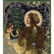1904 French Art Nouveau Christmas Postcard Silver Embossed with Mary Madonna Lilies