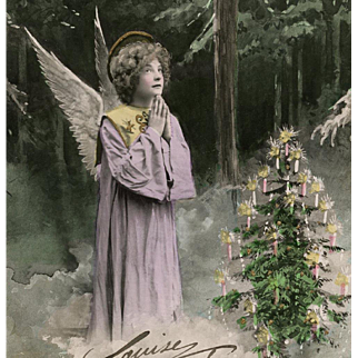1907 Antique French Postcard Joyeux Noel Angel in the Forest with Christmas Tree