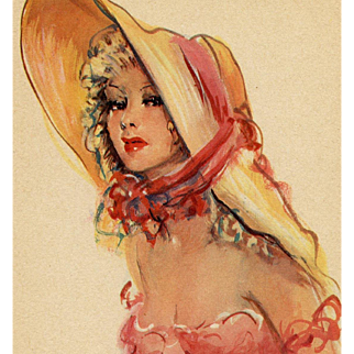 Artist Signed Parisienne in Pink by Vincent Cristellys Circa 1950s