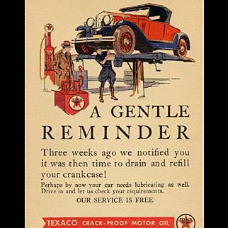 1931 Texaco Motor Oil Advertising Postcard Unused